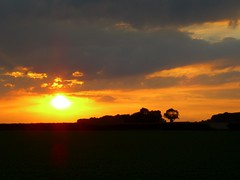 Sunset from the A46 - Zoomed In, Sun Showing Through