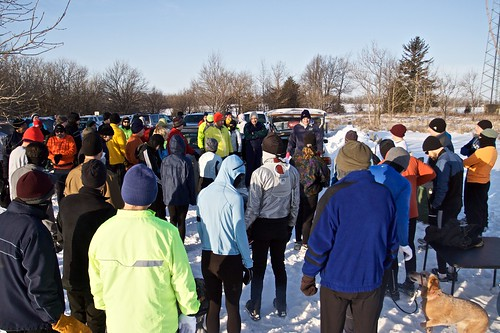Runners listen to Jeff's instructions