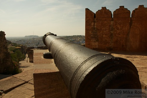 Canon of Meherangarh Fort looking out over Jodhpur