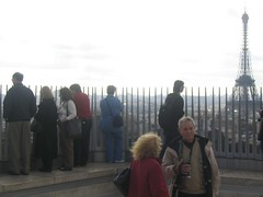 Image of the Eiffel Tower from the Arc de Triomphe with other visitors in the foreground