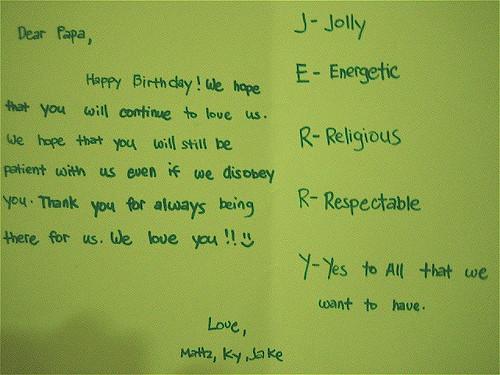 Jerry's birthday card