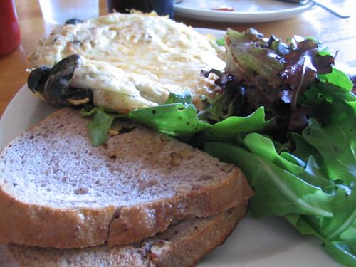 Doughboys' four egg frittata with walnut toast and a salad
