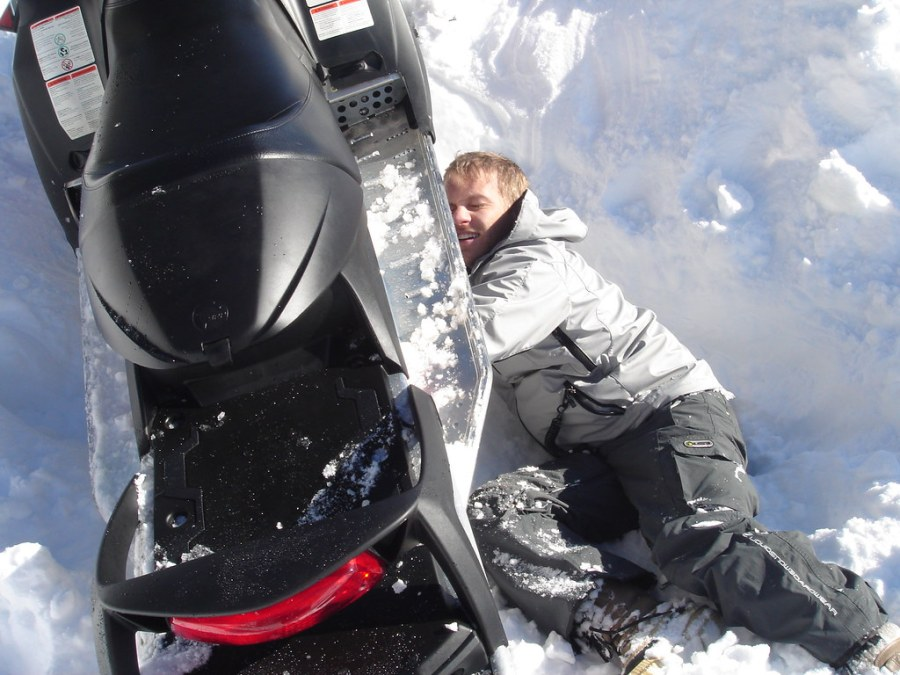 Stuck Snowmobile