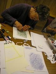 2.Clunie using  transfer crayons.
