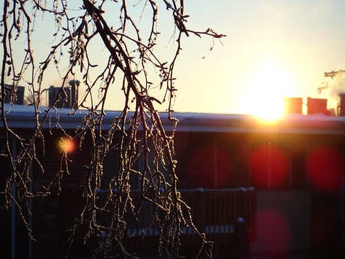 Icy sunrise over DeKalb, IL.