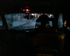 Riding a cab in early morning