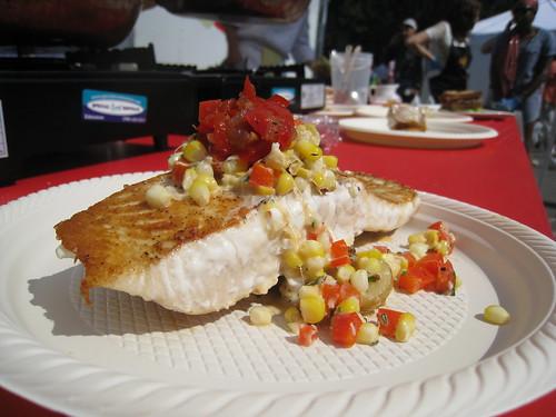 Salmon with Corn Succotash