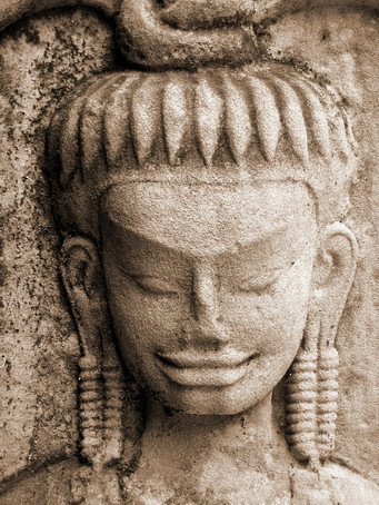 A close up of a lovely apsara, Hmmm does she look chinese??