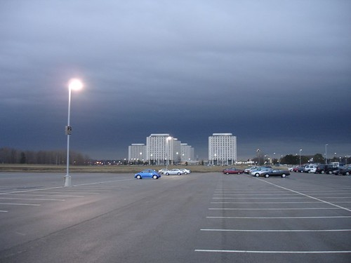 Ominous clouds gather before a March 2006 hailstorm over DeKalb, IL and the NIU campus.