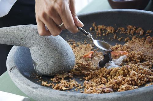 grinding Gado Gado spices