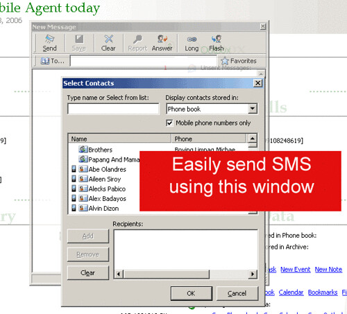 Float's Mobile Agent sending SMS screen