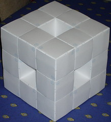 Photo of a depth 1 Menger's Sponge made out of business cards.