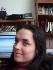 Jodi at her computer