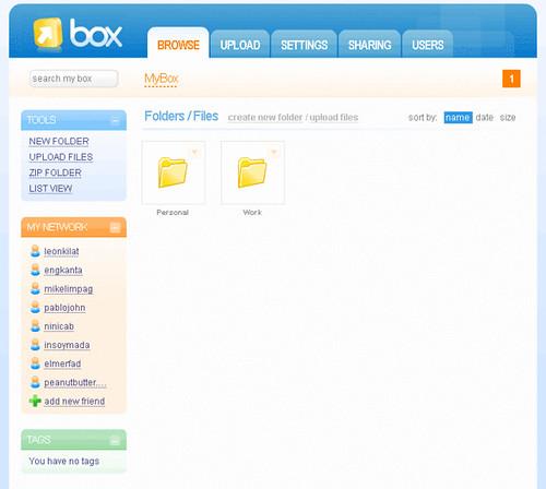 Box.net online storage interface