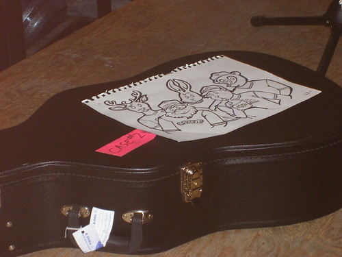 My Grandaddy drawing sitting on Jason Lytle's guitar case