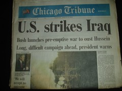 Chicago Trib. Iraq invasion headline.