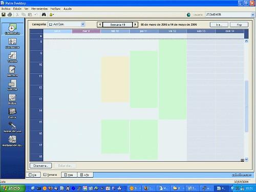 Palm Desktop. Vista semanal con el problema de los colores