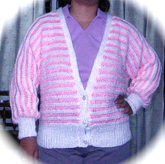Drop stitch cardigan front