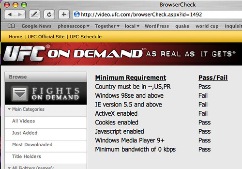 UFC only likes people using IE on Windows