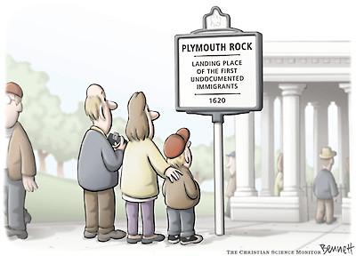 Where the Pilgrim Fathers landed in the USA, cartoon