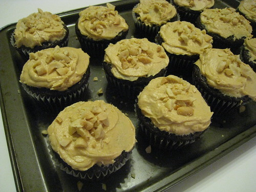 Chocolate Cupcakes with Peanut Butter Cookies