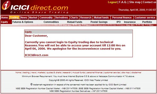 ICICI direct.com login problem screenshot