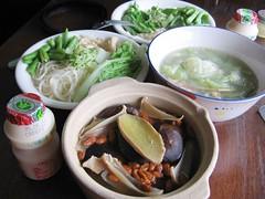 soup, vegetables, garlic noodles