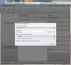 Create Storage Account Dialog