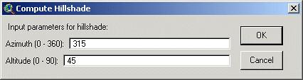 Kotak dialog pada proses Compute Hillshade
