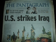 Bloomington Pantagraph Iraq invasion headline.
