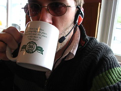 Uncleweed, sipping coffee