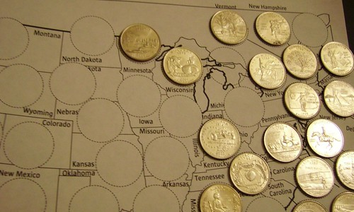 A Fun Way To Learn Associating A State Name To Its Geographic Position Inside United States Of North America Is By Collecting 25 Cents Coins That