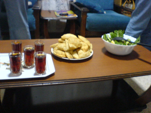 Haliva, tabouleh and tea