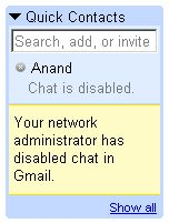 Gmail Chat disabled on the Network