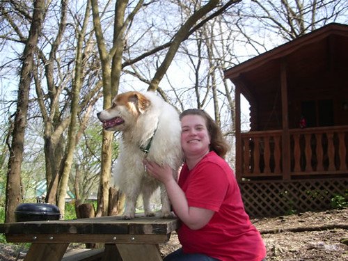 Abby on Picnic Table and Ern