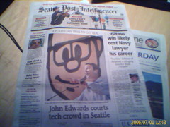 Front page of Seattle PI