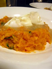 Poached Eggs on Sweet Potato & Spinach Mash