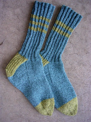 Stripey two-tone socks