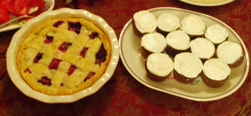 rhubarb and blueberry pie, chocolate zucchini muffins