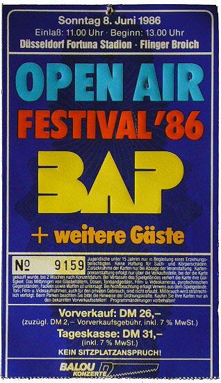 Open Air Festival '86 mit BAP