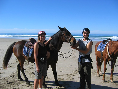 Us with our horses in Cintsa: beach horses. We got to 'swim' with the horses