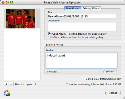 Picasa Web uploader for Mac