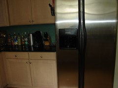 the kitchen: fridge and drinks counter