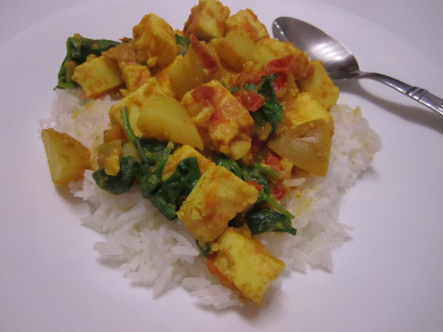 Spiced Paneer with Spinach and Potatoes