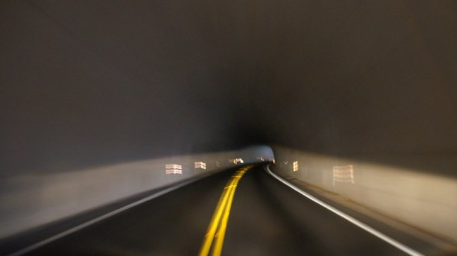 Inside a tunnel on the Blue Ridge Parkway