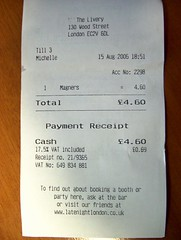 Receipt for £4.60