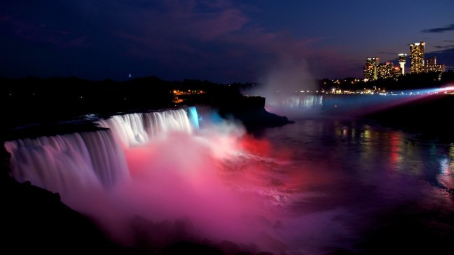 Red-White-Blue Lighted Niagara Falls at Night
