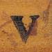 rubber stamp handle letter v