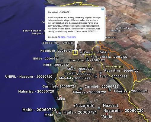 Middle East Crisis via Google Earth