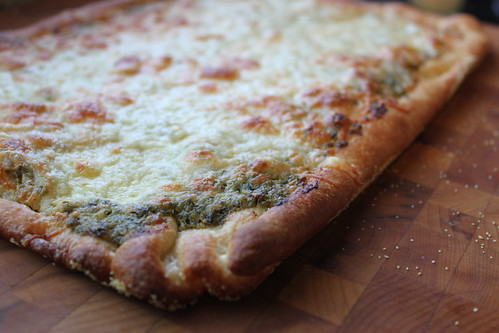 White Cheddar Pesto Pizza